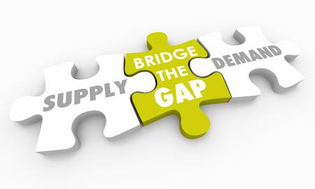 Supply Vs Demand Bridge the Gap Puzzle Pieces 3d Illustration Stock Photo