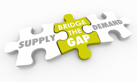 Supply Vs Demand Bridge the Gap Puzzle Pieces 3d Illustration Banco de Imagens