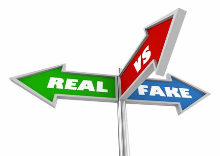 Real Vs Fake Three 3 Way Street Signs 3d Illustration