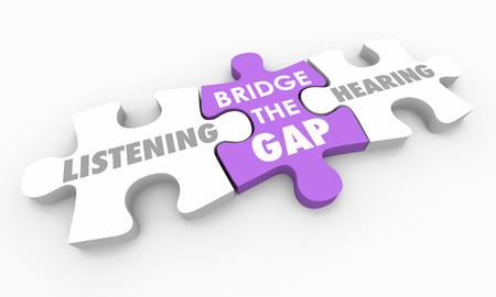 Listening Vs Hearing Bridge the Gap Puzzle Pieces 3d Illustration 免版税图像
