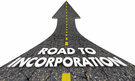 Road to Incorporation LLC LLP INC Words Arrow 3d Illustration 스톡 콘텐츠