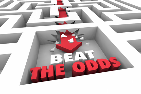 Beat the Odds Overome Challenge Maze Arrow Words 3d Illustration