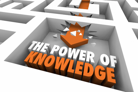 The Power of Knowledge Maze Arrow Words 3d Illustration