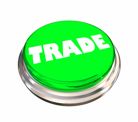 Trade Barter Sell Exchange Round Button Word 3d Illustration