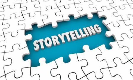 Storytelling Communication Puzzle Pieces Hole 3d Illustration