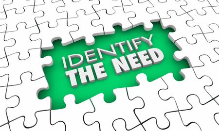 Identificare la necessità dei desideri del cliente Pezzi del puzzle Foro Illustrazione 3d