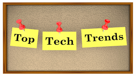 Top Tech Trends Bulletin Board Words 3d Illustration 스톡 콘텐츠 - 115114815