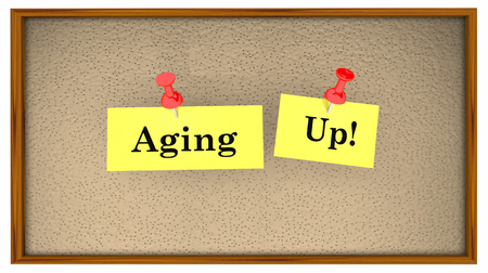 Aging Up Bulletin Board Words 3d Illustration Stock Photo