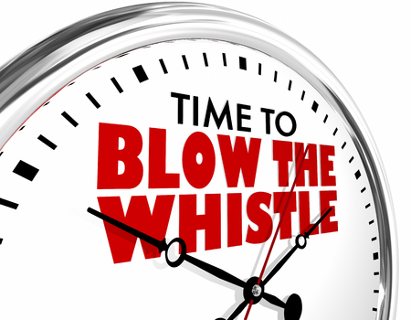 Time to Blow the Whistle Clock Words 3d Illustration Stock Photo