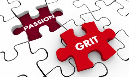 Grit Passion Words Puzzle Piece Hole 3d Illustration