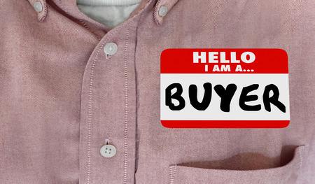 Buyer Purchasing Agent Hello Name Tag Words 3d Illustration 版權商用圖片