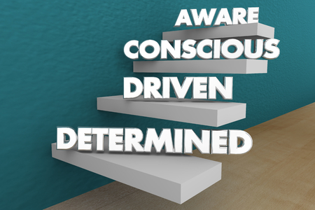 Aware Conscious Driven Determined Activism Steps Words 3d Illustration 스톡 콘텐츠 - 115114891