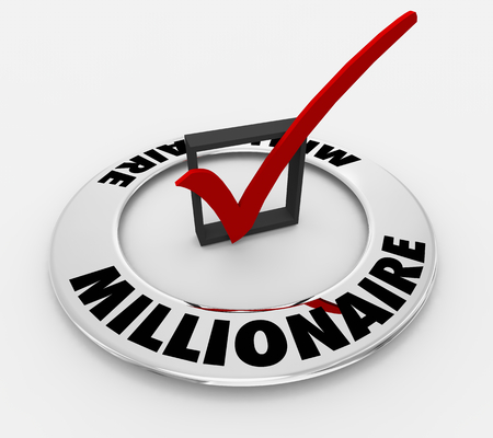 Millionaire Get Rich Word Check Mark Box 3d Illustration