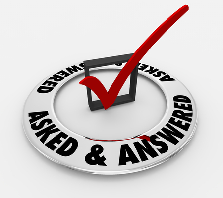 Asked and Answered Question Word Check Mark Box 3d Illustration