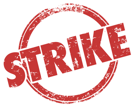Strike Hit Stop Work Stamp Word Illustration Reklamní fotografie