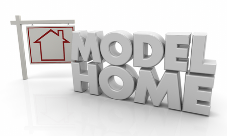 Model Home House for Sale Sign 3d Illustration Stock Photo