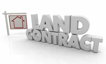 Land Contract House for Sale Sign 3d Illustration