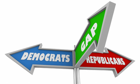 Democrats and Republicans Bridge Gap Compromise Signs 3d Illustration