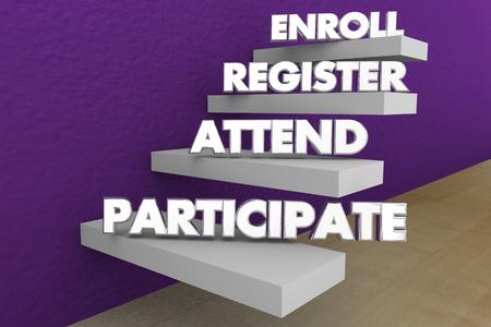 Enroll Register Attend Participate Steps Words 3d Illustration 版權商用圖片 - 115758845