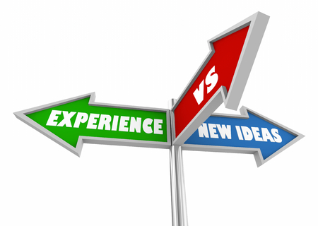 Experience Vs New Ideas Three 3 Way Street Signs 3d Illustration