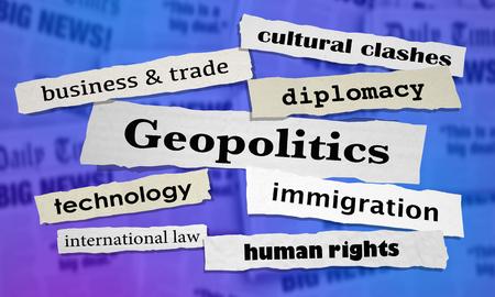 Geopolitics Newspaper Headlines 3d Illustration Stock Photo