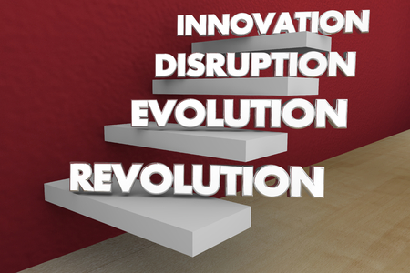 Innovation Disruption Evolution Revolution Steps Words 3d Illustration Stock Illustration - 115758856