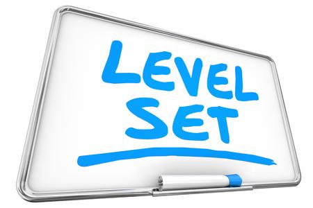 Level Set Calibration Dry Erase Board 3d Illustration Imagens