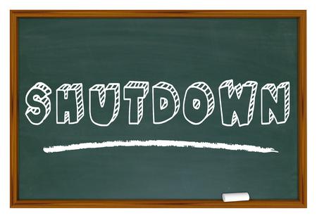 Shutdown Work Stoppage Closure Chalkboard Words 3d Illustration