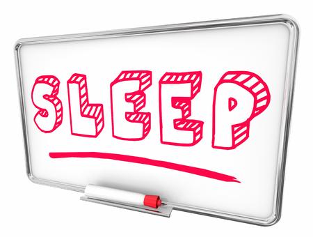 Sleep Rest Good Health Dry Erase Board Words 3d Illustration Stock Illustration - 115758947