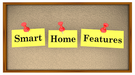 Smart Home Features Bulletin Board Words 3d Illustration