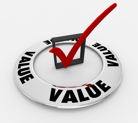 Value Benefits Word Check Mark Box 3d Illustration Stockfoto - 115759036