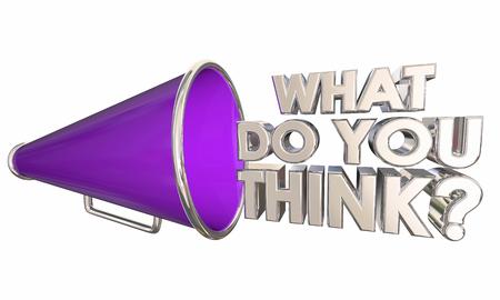What Do You Think Bullhorn Megaphone Words Question 3d Illustration