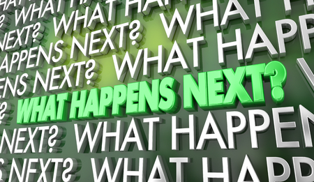 What Happens Next Step Stage Words 3d Illustration Stok Fotoğraf
