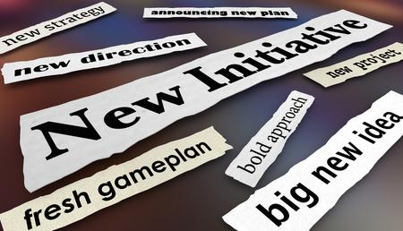 New Initiative Plan Direction Goal Newspaper Headlines 3d Illustration Archivio Fotografico - 115910377