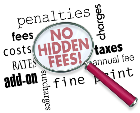 No Hidden Fees Fine Print Magnifying Glass Words 3d Illustration Stock Photo