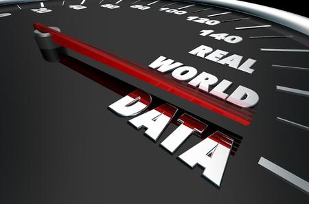 Real World Data Timely Information Speedometer Words 3d Illustration Stock fotó
