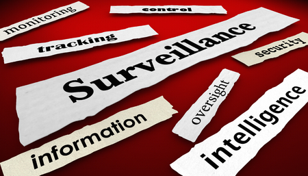 Surveillance Tracking Monitoring Newspaper Headlines 3d Illustration