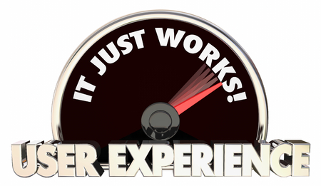User Experience It Just Works Speedometer Words 3d Illustration