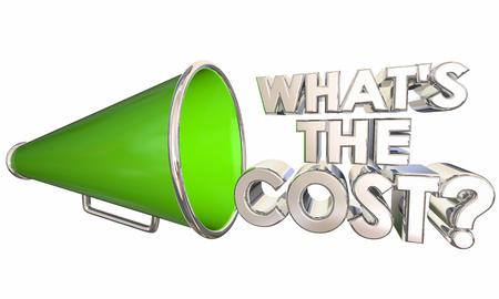 Whats the Cost Bullhorn Megaphone Words Question 3d Illustration Banque d'images - 115910402
