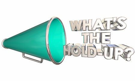 Whats the Hold-Up Bullhorn Megaphone Words Question 3d Illustration