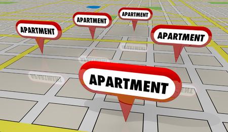 Apartment Rental Properties Map Pins 3d Illustration