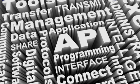 API Application Programming Interface Words Collage 3d Illustration Stock Photo