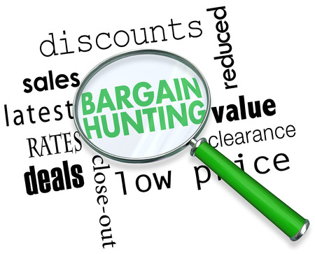 Bargain Hunting Sales Deals Magnifying Glass Words 3d Illustration Stock Photo