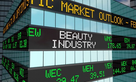 Beauty Industry Cosmetics Business Stock Market Ticker Wall Street Building 3d Illustration