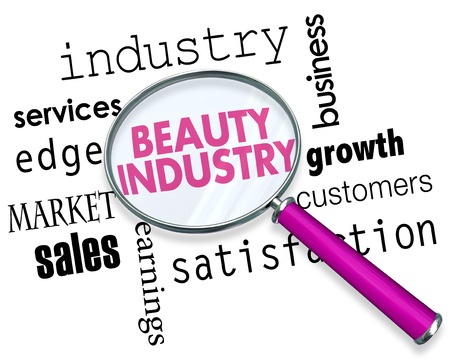 Beauty Industry Magnifying Glass Words 3d Illustration Stok Fotoğraf - 115910419