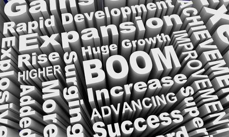 Boom Growth Expansion Words Collage 3d Illustration