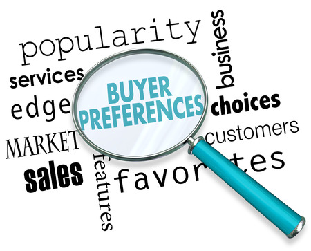 Buyer Preferences Magnifying Glass Words 3d Illustration Stock fotó