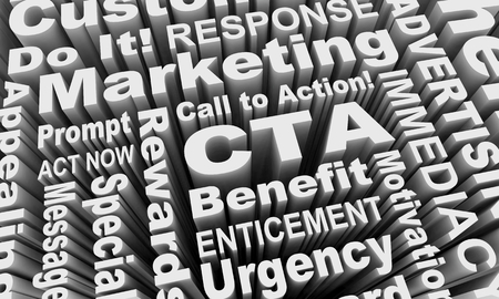 CTA Call to Action Words Collage 3d Illustration