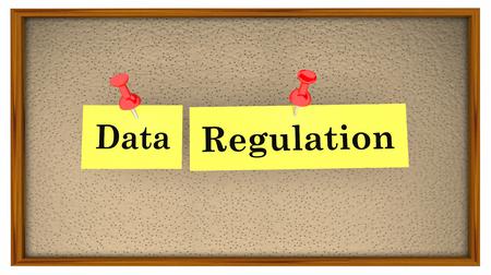 Data Regulation Bulletin Board Words 3d Illustration