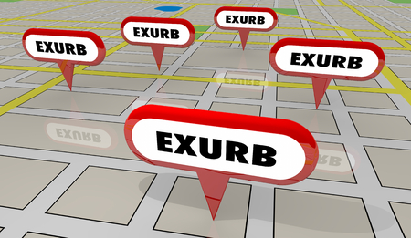 Exurbs Rural Suburban Communities Map Pins 3d Illustration